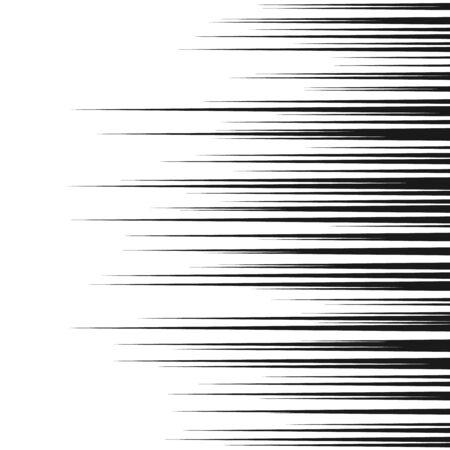 Comic horizontal speed lines background. Manga speed frame. Cartoon motion background. Superhero action. Vector illustration isolated on white background