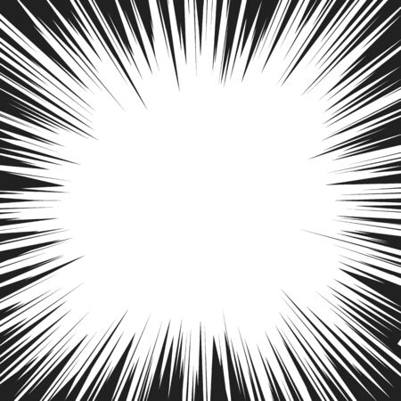 Comic book radial speed lines template. Manga speed frame. Cartoon explosion background. Superhero action. Monochrome vector illustration isolated on white background