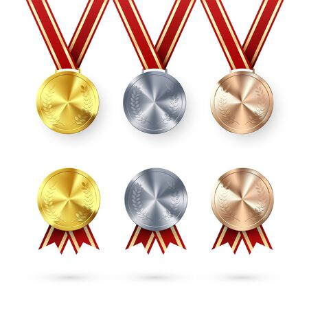 Set of Awards. Golden Silver and Bronze medals with laurel hanging on red ribbon. Award symbol of victory and success. Vector illustration isolated on white Çizim