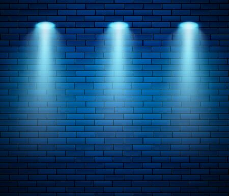 Spotlight against brick wall in blue color. Empty Studio decorated brick wall and spot of light. Vector illustration Иллюстрация