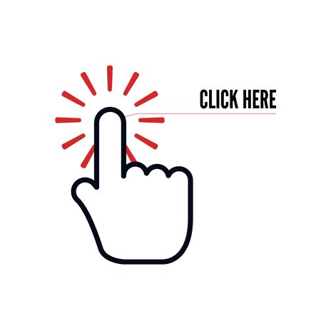 Hand cursor with animation of action and text click here on white background. Web icons element. Vector illustration 일러스트