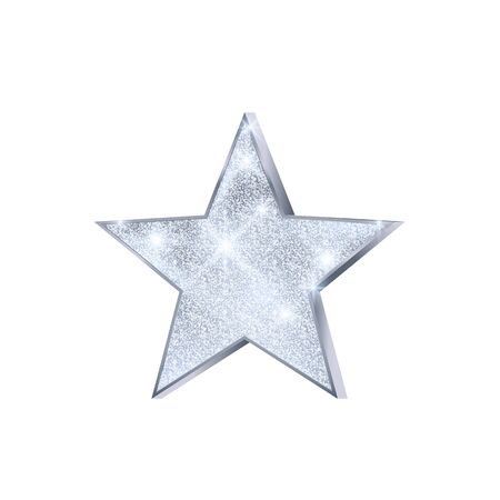 Silver Star. Christmas decoration. Luxury and glamour glossy star. Decoration element for holiday card or banner. Vector illustration