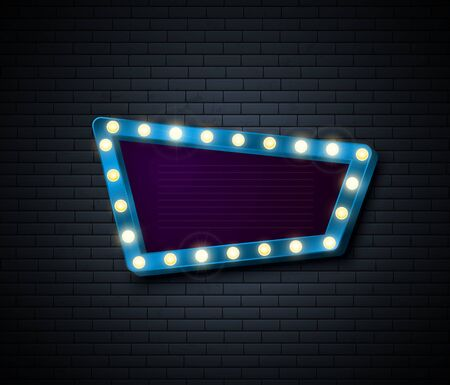 Retro Sign. Signboard with shiny lights. Show advertising isolated on brick wall. Vector illustration Иллюстрация