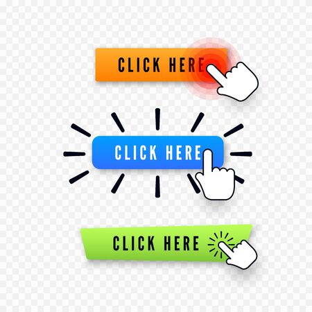 Hand cursor over button with text click here. Web icons element. Set of different buttons. Vector illustration isolated on transparent background