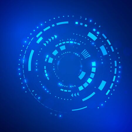 Circle blue abstract technology background. Future innovation concept. Sci fi cyberspace backdrop. vector