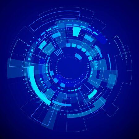 Modello di tecnologia futuristica. Sfondo digitale astratto blu. Illustrazione vettoriale