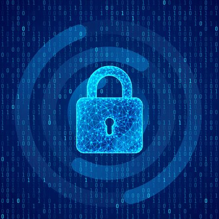 Polygonal lock on binary code background. Protection concept of digital and technology. System privacy. Protect personal data. vector illustration