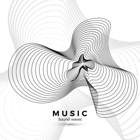 Sound wave template. Black and white illustration for your music album design. Abstract radial digital signal form. Vector