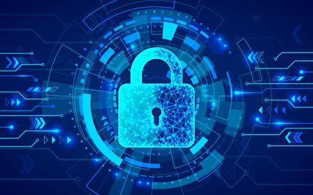 Seguridad de Internet. Cortafuegos u otro software o seguridad de red. Defensa de datos cibernéticos o concepto de protección de la información. Fondo de tecnología abstracta azul. Ilustración vectorial