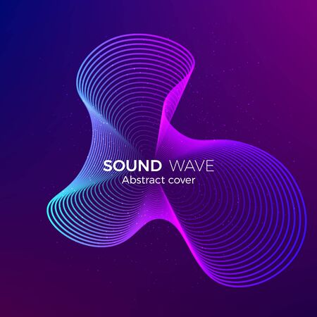 Abstract radial line background. Illustration for electronic music album or other cover. Design element of lines. Vector