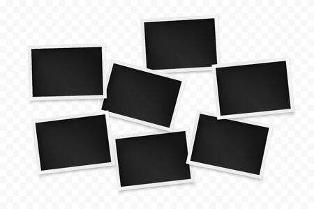 Set of horizontal photo frames on transparent background. Template of photography board. Vector illustration