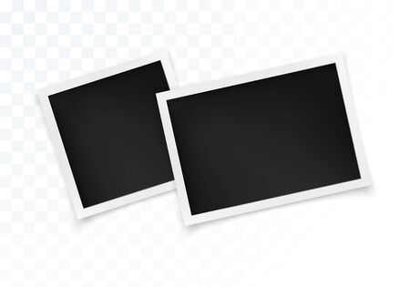 Photo Frame Set. Square and Horizontal Photography Frame Template for your Design. Vector Illustration Isolated on Transparent Background