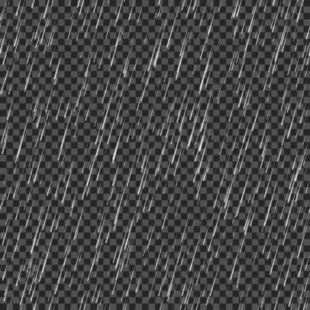 Seamless rainfall texture. Rain drop. Vector isolated on transparent background Illustration