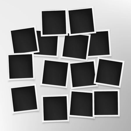 Set of photo frames on grey wall. Template of photography board. Vector illustration Çizim