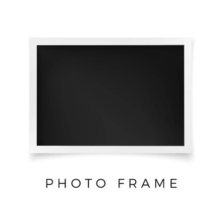 Horizontal Photo Frame. White Image Blank with Shadow Isolated on White Background. Vector illustration