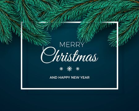 Merry Christmas and Happy New Year Greeting Card. Christmas tree branches on dark background and white frame. Holiday decoration elements. Vector