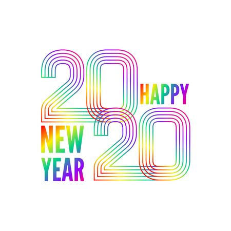 Happy New Year poster. Colorful gradient lines created number 2020 and greeting text. Vector illustration isolated on white background