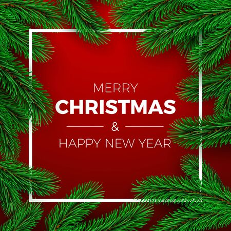 Merry Christmas and Happy New Year Greeting Card. Holiday invitation or poster design. Christmas tree branches on red background and white frame. Holiday decoration elements. Vector