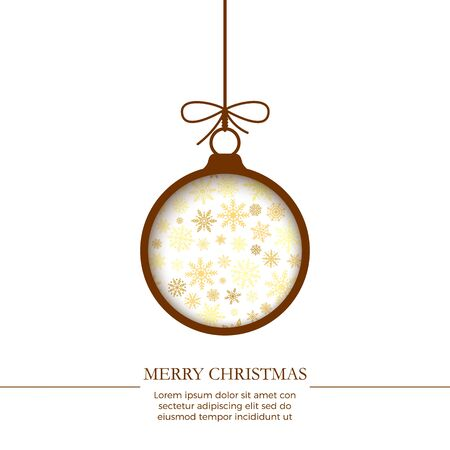 New Year greeting card template. Cut brown paper Christmas balls in white background with snowflake. Holiday decoration element. Vector Çizim