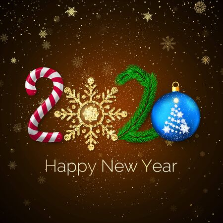 New Year 2020. Greeting card with 2020 lettering. Candy and golden glitter snowflake New Year tree branch and Christmas ball. Holiday decoration element. Vector illustration