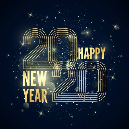 Happy New Year poster. Colorful golden gradient lines created number 2020 and greeting text with glitters and sparkles. Vector illustration isolated on dark background