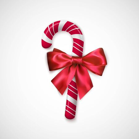 Striped Red and white Chrisrmas candy. Realistic sweet stick with silk bow. Confection for Christmas and New Year greeting cards design. Holiday decoration element. Vector illustration Çizim