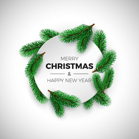 Merry Christmas and happy New Year greeting card. Round white label with fir branches. Holiday decoration element. Vector illustration