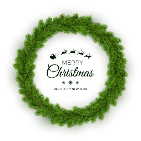 Christmas Wreath. Traditional Pine Round Garland. Holiday Decoration Element on White Background. Vector