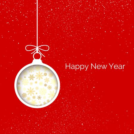 New Year greeting card cover. Cut paper Christmas balls in red background with snowflake. Holiday decoration element. Vector illustration Çizim