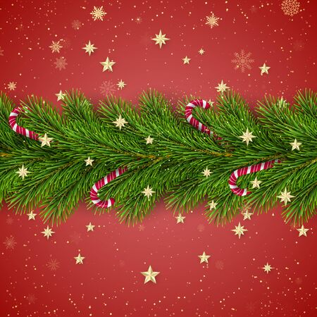 Merry Christmas and Happy New Year. Christmas Tree Branches Decorated with Golden Stars and Snowflakes and Candy Canes. Holiday Decoration Element on Red Background. Vector Çizim