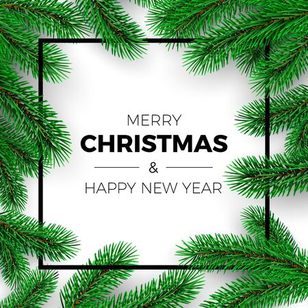 Merry Christmas and Happy New Year Greeting Card. Invitation design. Christmas tree branches on white background and black frame. Holiday decoration elements. Vector