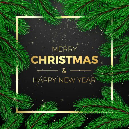 Merry Christmas and Happy New Year Greeting Card. Christmas tree branches on dark background with golden frame. Holiday decoration elements. Vector illustration
