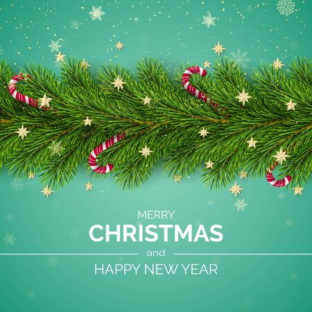 Merry Christmas and Happy New Year. Christmas Tree Branches Decorated with Golden Stars and Snowflakes and Candy Canes. Holiday Decoration Element with Wishes. Vector