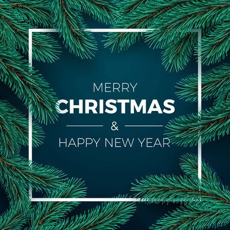 Merry Christmas and Happy New Year Greeting Card. Invitation design. Christmas tree branches on dark background and white frame. Holiday decoration elements. Vector Çizim