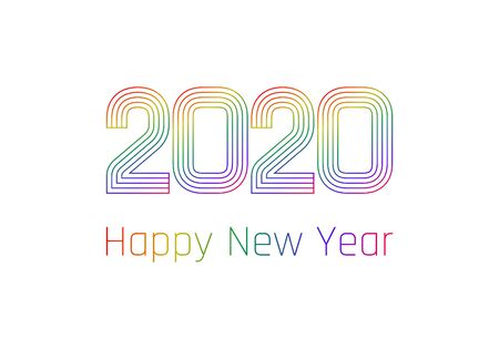 Happy New Year poster. Colorful gradient lines created number 2020 and greeting text. Vector illustration