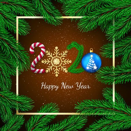 New Year 2020. Greeting card with 2020 lettering. Candy and golden glitter snowflake New Year tree branch and Christmas ball. Gold frame and pine branches background. Vector