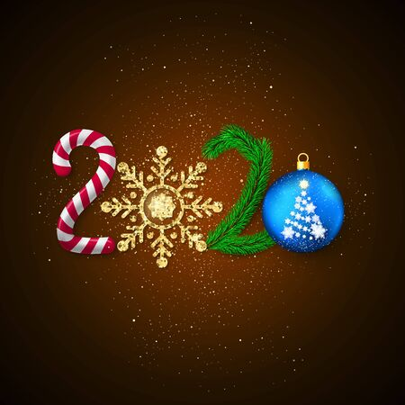 New Year 2020. Holiday decoration element for greeting card with 2020 lettering. Candy and golden glitter snowflake New Year tree branch and Christmas ball. Vector illustration Çizim