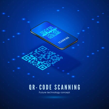 QR code scan isometric concept. Mobile phone with scanning digital barcode on screen. Technology background in blue colors. Vector