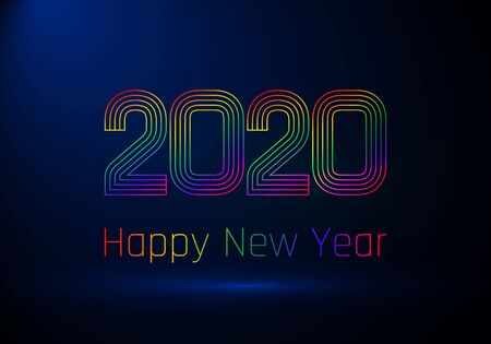Happy New Year poster. Colorful gradient lines created number 2020 and greeting text. Vector illustration isolated on dark blue background Çizim