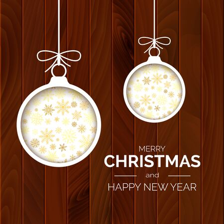 Merry Christmas and happy New Year greeting card. Christmas balls on wooden background with greeting text. Holiday decoration element. Vector