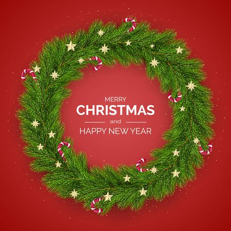 Merry Christmas and Happy New Year. Christmas Tree Wreath Decorated with Golden Stars and Candy Canes. Holiday Decoration Element on Red Background. Vector