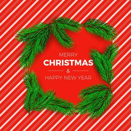 Christmas tree branches on red candy background with white stripes. New Year decoration elements. Vector illustration Çizim