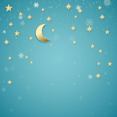 Christmas night background. Golden stars and snowflakes on blue background. Holiday design element. Vector