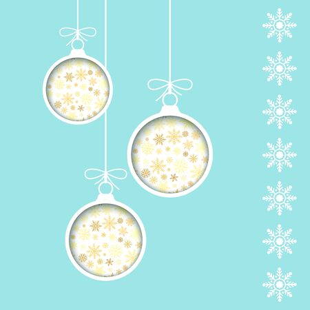 New Year greeting card template. Holiday decoration element. Cut paper Christmas balls in blue background with snowflake. Vector illustration