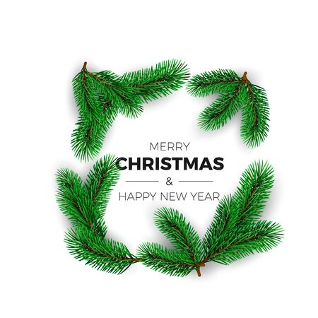 Merry Christmas and happy New Year greeting card. Holiday decoration element. New Year invitation design with fir branches. Vector illustration