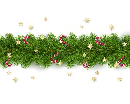 Merry Christmas and Happy New Year. Christmas Tree Branches Decorated with Golden Stars and Candy Canes. Holiday Decoration Element on White Background. Vector Çizim