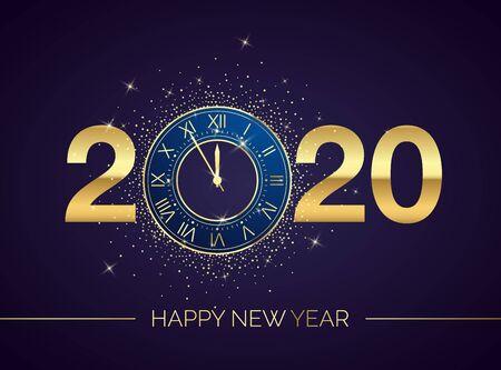 Esfera de reloj dorado con números 2020 sobre fondo mágico de Navidad. Cuenta regresiva de año nuevo y campanillas. Cinco minutos antes de doce plantilla para su cartel de diseño o invitación. Ilustración vectorial