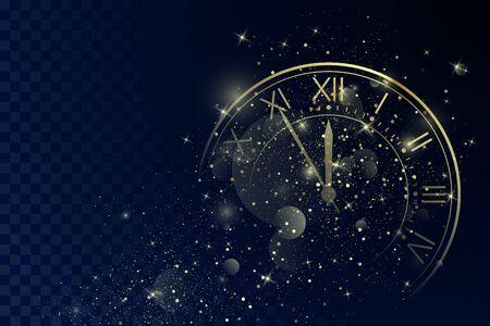 マジッククリスマスグリッターの背景にローマ数字とゴールデンクロックダイヤル。新年のカウントダウンとチャイム。12分前の5分。ベクトル