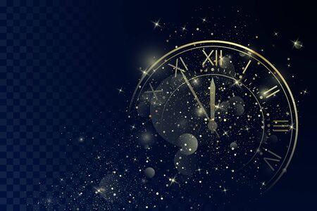 Golden Clock Dial with Roman Numbers on Magic Christmas Glitter Background. New Year Countdown and chimes. Five minutes before twelve. Vector Çizim