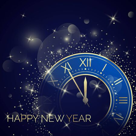 Golden Clock Dial with Roman Numbers on Magic Christmas Glitter Background. New Year Countdown and chimes. Five minutes before twelve. Vector illustration